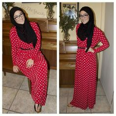 YAZ in MODESTY red and white polka dot dress #hijab