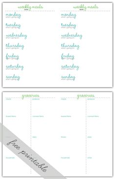 FREE printable Weekly Menu Planner and Grocery List