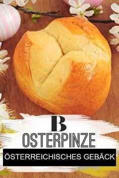 """Osterpinze Rezept. Die Osterpinze ist ein österreichisches Gebäck aus süßem Hefeteig (österr. """"Germteig""""). In unserem Rezept erfahrt ihr, wie ihr sie selber machen könnt. #gebäck #backen #ostern #österreich Easy Baking Recipes, Cakes And More, Food And Drink, Sweets, Sugar, Bread, Easter, Brioche, Biscuit"""