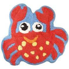 Blue Sealife Bathroom Shower Bath Rug Mat W/ Red Crab