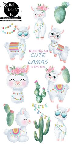 Llama Clipart, Cute Animal Clipart, Cute Clipart, Alpacas, Cute Illustration, Watercolor Illustration, Animal Drawings, Cute Drawings, Llama Drawing