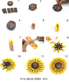 Sunflower picture tute. #Polymer #Clay #Tutorials