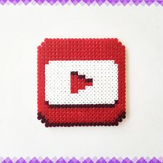 You Tube logo perler beads by perler_art