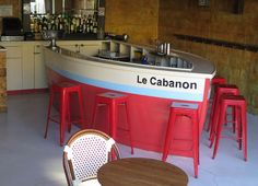 A recent endeavor at Atelier Viollet was the construction of a boat-shaped serving station for Fada—a neighborhood bar a few doors away from our studio. http://atelierviollet.com/blog/fada-boat-shaped-bar/