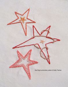 Star Bright modern hand embroidery pattern by KFNeedleworkDesign