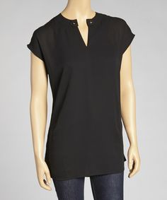 Take a look at this Black Sheer Cap-Sleeve Top - Women by Costa Blanca on #zulily today!