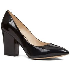 Nine West Black Scheila Block Heel Pump - Available In Extended Sizes... ($89) ❤ liked on Polyvore featuring shoes, pumps, black, nine west pumps, patent leather pointy toe pumps, black pointy-toe pumps, pointed toe pumps and black pumps