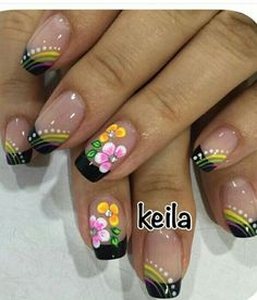 Black Tip French Manicure with Flowers Fabulous Nails, Gorgeous Nails, Pretty Nails, May Nails, Hair And Nails, Elegant Nail Designs, Nail Art Designs, Finger Nail Art, Fingernail Designs