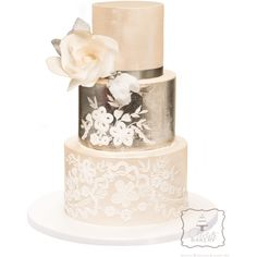 Silver Leaf Ornament Wedding Cake ❤ liked on Polyvore featuring food, wedding, wedding cakes and weddings