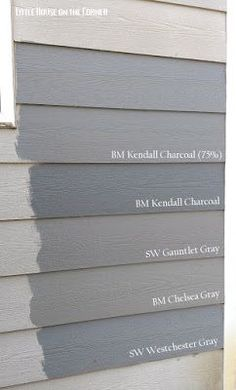 Accueil Peinture extérieure Reveal: Quest for the Perfect Grey - Little House on the Corner: Home Exterior Painting Reveal: Quest for the Perfect Grey - Exterior Paint Colors For House, Interior Paint Colors, Paint Colors For Home, Gray Exterior Houses, Outside House Paint Colors, House Siding Colors, Grey Siding House, Diy Exterior House Painting, Exterior Paint Ideas