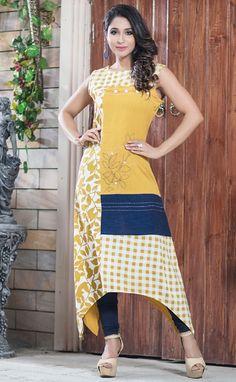 Beautiful rayon-silk Kurti with placement of fabrics and detailing. Kurti Neck Designs, Blouse Designs, Kurtis Tops, Silk Kurti, Short Long Dresses, Batik Dress, Dress Collection, Designer Collection, Retro Dress