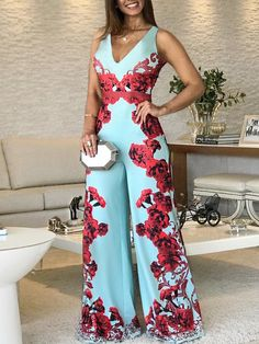 Floral Print Sleeveless Wide Leg Jumpsuit - Fashion Able Jumpsuit Outfit, Floral Jumpsuit, Pants For Women, Clothes For Women, Overall, Jumpsuits For Women, Pattern Fashion, African Fashion, Wide Leg