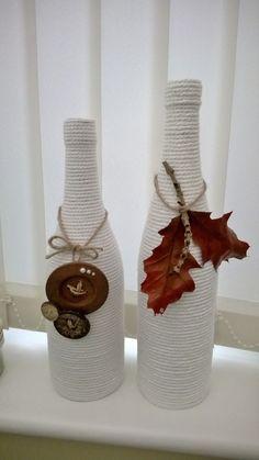 Old wine bottles: Repurposed #decoratedwinebottles