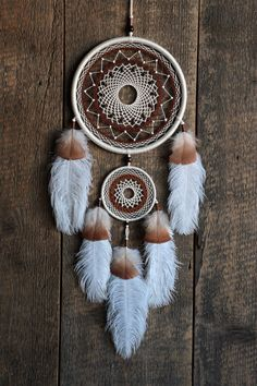 White dream catcher/White and brown by MyHappyDreams on Etsy