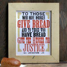 Give Bread letterpress print by starshapedpress on Etsy