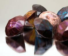 Luxurious gourmet chocolates shaped like diamonds