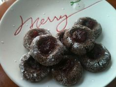 Cocoa thumbprint cookies.