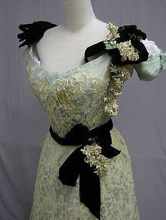 1012 Delicious 1900 Hand Made Lace Aqua Silk Ball Gown | eBay