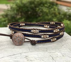 A personal favorite from my Etsy shop https://www.etsy.com/listing/606191824/seed-bead-leather-wrap-bracelet-chan-luu