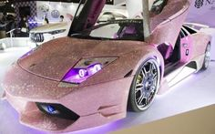 Cool cars 2019 A customized Automobili Lamborghini SpA vehicle covered with Swarovski crystal is displayed at the Tokyo Auto Salon in Chiba, Japan Lamborghini Auto, Maserati, Bugatti, Lamborghini Pictures, Lamborghini Gallardo, Audi R8, Fancy Cars, Cute Cars, New Sports Cars