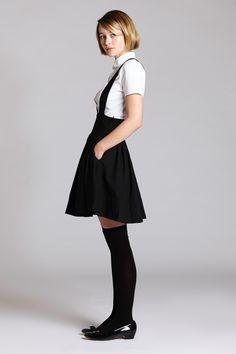 Black wool suspender skirt by L'Ecole des Femmes - $159
