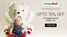 Snapdeal  Toys Monsoon Sale Upto 70% Off  It's Raining Offers 60,000 + Toys Goosedeals is leading destination for cashback coupons and best deals. Goosedeals offering some of the best deals and best products at very affordable prices, also our   website is providing discounts with lowest prices. Grab best deals and cashback coupons More Details visit: http://goosedeals.com/home/details/snapdeal/43532.html