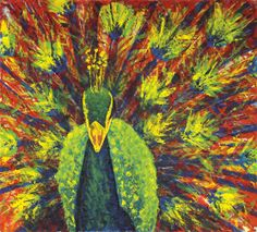 Peacock. This painting was created using only palette knives as the application tool.