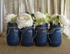 Mason Jars, Ball jars, Painted Mason Jars, Flower Vases, Rustic Wedding Centerpieces, Navy Blue Mason Jars by shakygal18