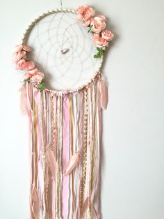 This dreamcatcher is so feminine and gorgeous! Boho chic adorned with peachy pink silk flowers on both sides of the web, beautiful specialty Dream Catcher Boho, Dream Catchers, Dream Catcher For Kids, Dream Catcher Nursery, Diy And Crafts, Arts And Crafts, Baby Mobile, Boho Baby Shower, Gold Fabric
