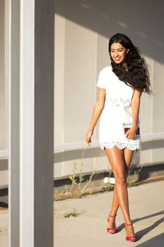 White dress with red shoes