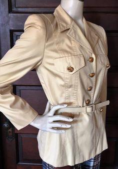 Vintage 1980's ESCADA Belted BLAZER Light Khaki Yellow Safari Style Jacket German sz 34 US sz 4 Designer Military Inspired by MsBunnyVintage on Etsy