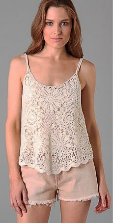 At least one lace top Crochet Shirt, Knit Crochet, Crochet Summer, Crochet Woman, Beautiful Crochet, Crochet Clothes, Pattern Fashion, Ideias Fashion, At Least