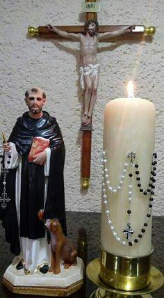 Saint Dominic, Novena Prayers, Prayer For Family, Religious Images, Prayer Room, Roman Catholic, Pillar Candles, Candle Holders, Snoopy