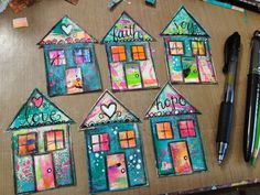 Precut different sizes/shapes of houses. Then mount in a collage. Kids don't forget to put initials somewhere on the front. Mix Media, Mixed Media Art, Mixed Media Tutorials, Happy House, Arte Popular, Art Journal Pages, Art Journaling, Art Journal Inspiration, Art Club