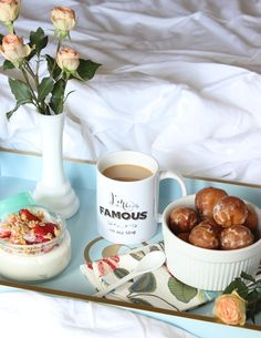 A stylish breakfast in bed display. How cute would this be for Valentine's Day?