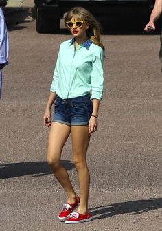 Get T-Swift's look with a mint shirt and red sneaks.