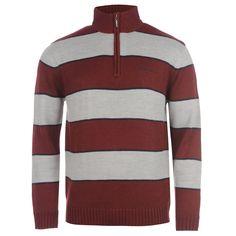 Pierre Cardin | Pierre Cardin Quarter Zip Striped Jumper Mens | Mens Jumpers
