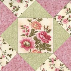 This is a cute easy to sew quilt kit with precut pieces with beautiful fussy cut floral print. Fabric prints have soft pinks, cream, green and gold. Make a nice blanket, throw, wall hanging, place mat