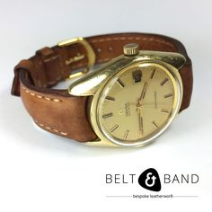 Dark Tan Brown Semi-Padded Calf Leather Strap with curved end at lugs. Hand stitched with waxed beige thread. Watch Straps, Vintage Omega, Dark Tan, Omega Seamaster, Handmade Leather, Calf Leather, Calves, Beige, Band