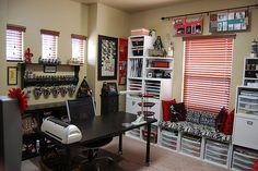 Love the black and red in this scrap room.