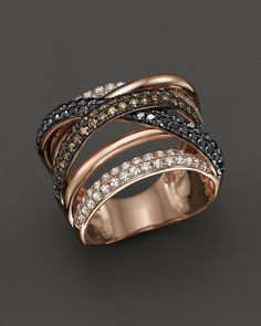 White, Brown and Black Diamond Crossover Ring in 14K Rose Gold