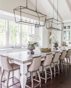 New kitchen island lighting chandelier interior design ideas White Kitchen Island, Kitchen Island Lighting, White Kitchen Cabinets, Kitchen Island Dining Table, Kitchen With Long Island, Island Lighting Fixtures, Large Kitchen Island Designs, Kitchen Island With Seating For 6, White Coastal Kitchen