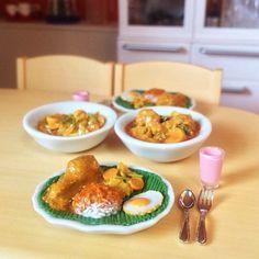 Miniature food, Nasi Padang Indonesia cuisine