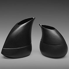 left:Stacking Pitcher and Bowl (porcelain, black glaze) two-piece set: pitcher and bowl 5x2.75x4.5 inches- $55  right:Small Stack (porcelain...