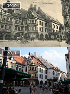 Hofbräuhaus Munich, Germany, 1910 – 2017 - Before and After Pics Then And Now Pictures, Before And After Pictures, Old Pictures, Old Photos, Photo Voyage, Before After Photo, Contemporary Photographers, Paris City, Martin Luther