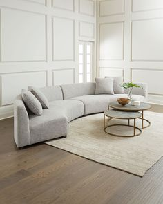 Shop Belmount Gray Astor Curved Sectional at Horchow, where you'll find new lower shipping on hundreds of home furnishings and gifts. Gebogenes Sofa, Sofa Furniture, Living Room Furniture, Furniture Design, Painted Furniture, Round Sectional, Round Sofa, Living Room Sectional, Sectional Sofas