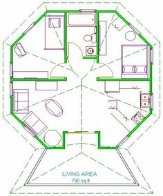 Casa octogonal Cottage Style House Plans, Coastal House Plans, Cottage Floor Plans, Round House Plans, Dream House Plans, Small House Plans, Casa Octagonal, Hexagon House, House Roof Design