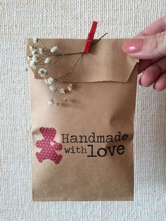 Cute little brown kraft bags with print  19.5 cmX 10 by KrisAlisK