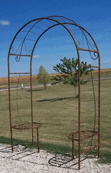 Wrought Iron Dome Wrought Iron Arbor with Seats
