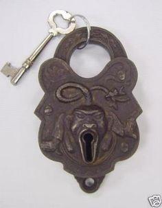 old padlock   Antique Rare John Chinaman Padlock Key Trenton 1800s